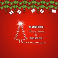 Frohe Weihnachten und frohes neues Jahr Design auf rot
