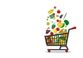 Einkaufswagen mit Obst und Gemüse