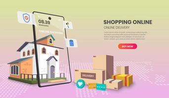 online shopping landningssida med hem och paket vektor