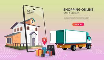 mobiler LKW-Lieferservice nach Hause vektor