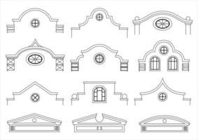 uppsättning klassiska vintage fasader