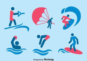 Vatten sport ikoner vektor