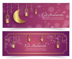 islamiska baner med nyår i pappersklippt stil vektor