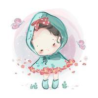 schwarzhaariges Mädchen mit kaltem Poncho mit Blumenbesatz vektor