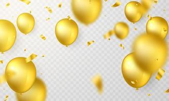 gyllene ballong med vackert ordnade konfetti vektor