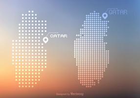 Gratis Qatar Vector prickar och pixel karta
