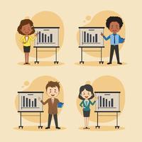 uppsättning affärsmän och kvinnor som presenterar
