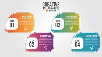4-stufige Infografik mit abgerundeter Verlaufsform