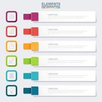färgglada banner infographic med 6 steg vektor