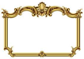 horisontell gyllene klassisk rokoko barock ram