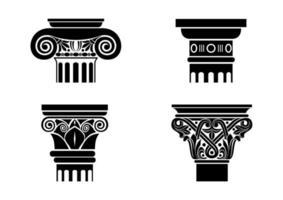 Silhouetten von schwarzen Kapitellen für Säulen