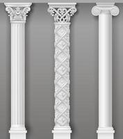 klassiska prydnads antika vita kolumner