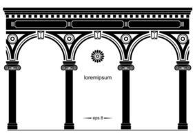 Silhouette der gewölbten klassischen Fassade