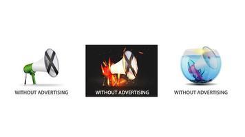 inga annonser Ikonuppsättning