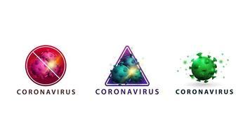 Coronavirus-Symbole isoliert auf Weiß