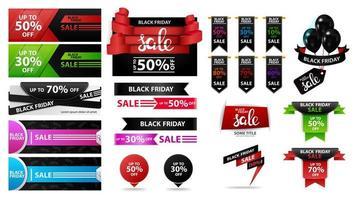 große Reihe von schwarzen Freitag Rabatt Verkauf Banner vektor