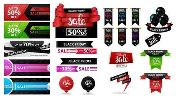 stor uppsättning svart fredag rabatt försäljning banners