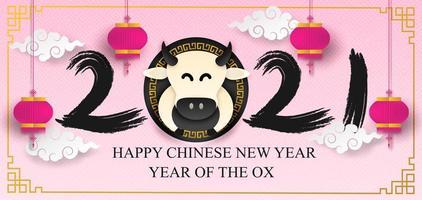 chinesischer Neujahr 2021 Text und Ochse auf rosa