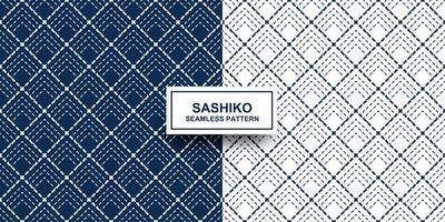 nahtloses Musterset aus Indigo und weißem Sashiko