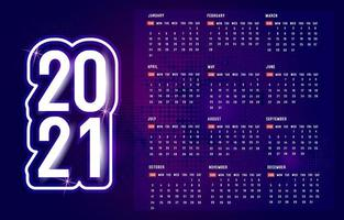 lila 2021 Kalender mit Punktmuster