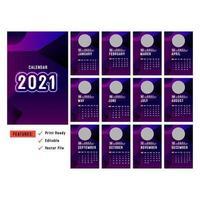 lila vertikala 2021-kalendrar med cirkelbildsutrymme