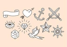 Alte Schul-Tattoo-Ikonen vektor