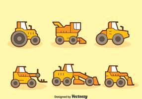 Tecknad traktor samling vektor