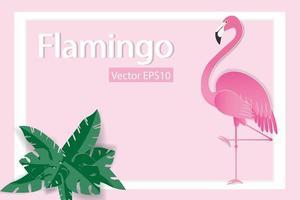 Flamingo im weißen Rahmen mit tropischen Blättern