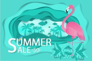 Flamingo auf blau gewelltem Papierschnitthintergrund