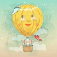 söt elefant som flyger i luftballong