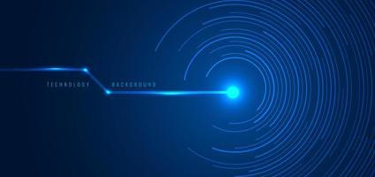 abstrakt teknik futuristiska koncept blå cirkulära linjer vektor