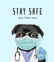 """Slogan """"Bleib in Sicherheit"""" mit schwarzem Mops in medizinischer Maske vektor"""