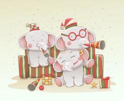tre söta babyelefanter firar jul