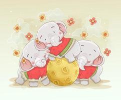 elefantfamilj som leker tillsammans