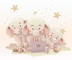 tre söta elefanter som tittar på film tillsammans på bärbar dator