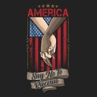 gemischtrassige Hände über der amerikanischen Flagge gefaltet