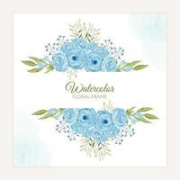 handbemalter blauer Rosenblumenrahmen im Aquarellstil