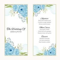 Hochzeitsmenükarte mit aquarellblauer Rosenblumenrahmen vektor