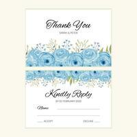Hochzeitsantwortkartenschablone mit blauer Aquarellrosendekoration