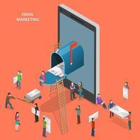 e-postmarknadsföring platt isometrisk design vektor