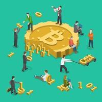 Menschen, die Daten für das isometrische Design des Bitcoin-Bergbaus sammeln vektor