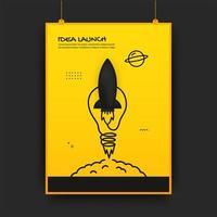 Plakat mit startender Rakete und Glühbirne