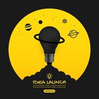 glödlampa på gul lansering ut i rymden