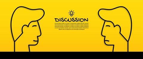 diskutera idékoncept med två mänskliga huvuden