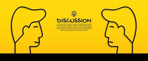Ideenkonzept mit zwei menschlichen Köpfen diskutieren