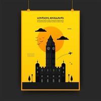 England Reiseplakat in gelb und schwarz