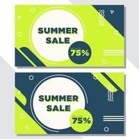gröna och blå geometriska form försäljnings banners