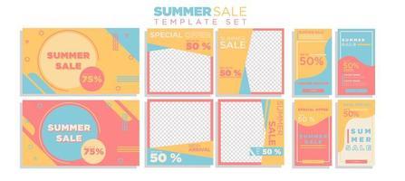 sommarförsäljning sociala medier berättelse och banner samling
