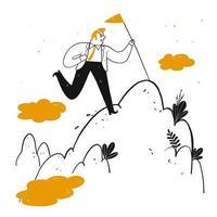 Hand gezeichneter Mann mit Fahnenmast auf Berggipfel vektor