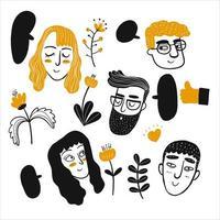 Hand gezeichnete Menschen Gesichter gesetzt